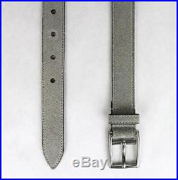 New Gucci Men's Light Gray Suede Leather Belt Silver Buckle 368193 1417