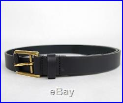 New Gucci Men's Navy Blue Leather Belt Gold Buckle Feather Detail 375182 4009