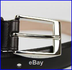 New Gucci Mens Dark Brown Leather Belt with Classic Square Buckle 336831 2140