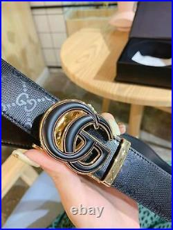 New Gucci Mens Gg Double Buckle Belt