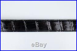 New. HERMES Glossy Black Crocodile Leather Belt Strap Without Buckle Size 100/40