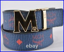 New MCM Men's $295 Blue Red Visetos Canvas Logo Buckle Cut to Fit One Size Belt