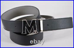 New MCM Men's $340 Leather Contrast Logo Buckle Cut to Fit One Size Belt
