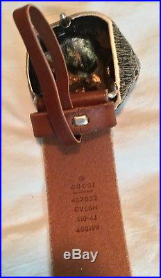 New Men's GUCCI Tiger Head Buckle Calfskin Belt by GUCCI Size 44/110