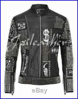 New PHILIPP PLEIN Black Full Studded Embroidery Patches Leather jacket Biker Men
