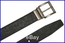 New Prada Milano Current Black Brown Saffiano Leather Logo Buckle Belt 85/34