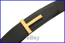 New Tom Ford Black Brown Leather T Icon Buckle Reversible Belt 100/40