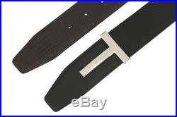 New Tom Ford Black Brown Leather T Icon Buckle Reversible Belt 105/42