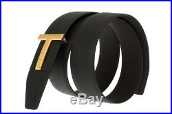 New Tom Ford Black Brown Leather T Icon Buckle Reversible Belt 110/44