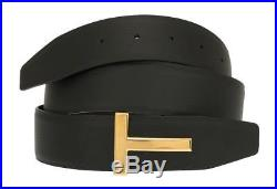 New Tom Ford Black Brown Leather T Icon Buckle Reversible Belt 120/48