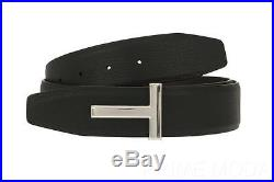 New Tom Ford Black Dark Chocolate Leather Reversible T Buckle Logo Belt 90/36