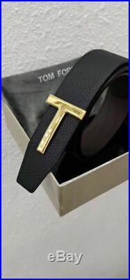 New Tom Ford Brown Black Leather Reversible T-buckle Logo Belt 95/38