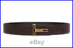New Tom Ford Men's Gold T Logo Buckle Brown Black Reversible Leather Belt 90/36