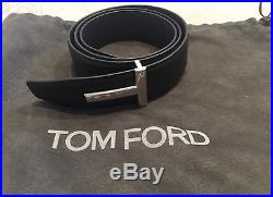 New Tom Ford Reversible Black/Brown Silver Iconic T Buckle Belt Size 95/38US