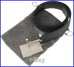 New Tom Ford T-buckle Black Grained Luxury Leather Dress Belt 38