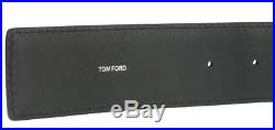 New Tom Ford T-buckle Black Grained Luxury Leather Dress Belt 42