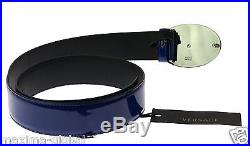 New Versace Blue Patent Leather Belt with Oval Medusa Buckle 95/38