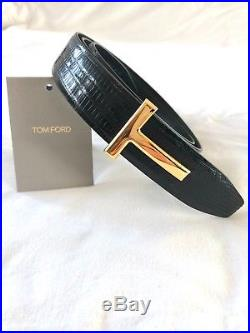 New in box Tom Ford Lizard Belt Black/Gold Buckle size 100cm/36 RRP 890£