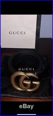 New with Tags Authentic Gold GG Buckle Gucci Belt 95 cm fits 30-34
