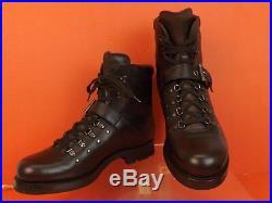 Nib Prada Brown Leather Belted Buckle Lace Up Shearling Combat Boots 9 Us 10