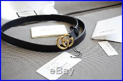 Original Gucci MINI GG Gold Buckle Black Leather Belt size 80/32 fits 20-24