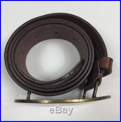 POLO RALPH LAUREN Size 34 BELT Brown LEATHER BRASS BUCKLE Made In England