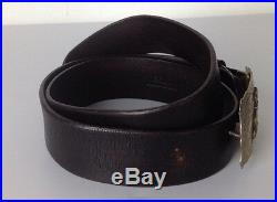 Polo Ralph Lauren Mens Belt Brown Small Plaque Buckle Bull Rider Rodeo Leather