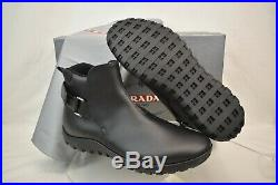 Prada Black Leather Belted Buckle Lettering Logo Strap Sneakers Boots 7 Us 8