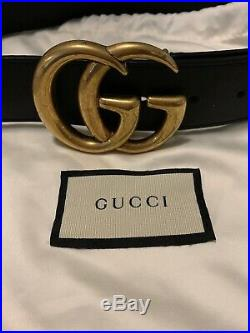 Pre-Owned Gucci Belt Gold GG Buckle With Black Strap Size 70