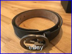 Pre-Owned Gucci Supreme belt with G buckle Black/Grey Size 95/38 34