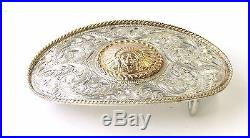 RARE Edward H. Bohlin Indian Chief Trophy Buckle Sterling Silver & 14kt Gold