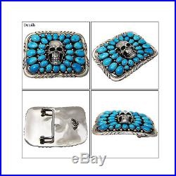 RECTANGULAR TURQUOISE SKULL 925 STERLING SILVER HANDCRAFTED BUCKLE nav-bc4