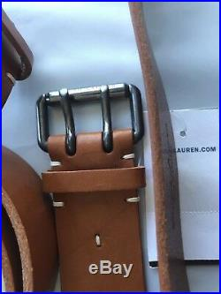 Ralph Lauren Purple Label Hand Made In England Forged Buckle Leather Belt 36 90