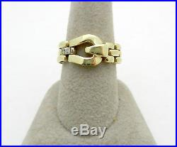 Real 14k Yellow Gold Mens FLEXIBLE Belt Buckle Ring Diamond Accent 5.7 grams