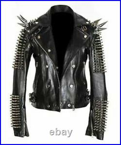 Real Black Leather Spike Jacket Studded Punk Style Cropped Jacket For Club wear