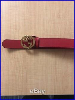 Red Gucci Guccissima Belt with Gold Buckle