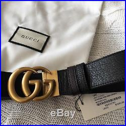 Reversible GUCCI Belt GOLD GG Marmont Buckle BLACK / BROWN size 85/34 fits 28-30
