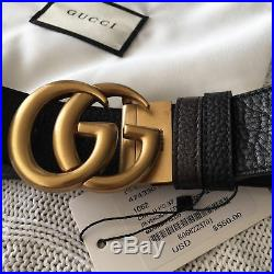 Reversible GUCCI Belt GOLD GG Marmont Buckle BLACK / BROWN size 90/36 fits 28-30