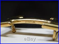 Reversible Hermes Belt 70 Black Brown Gold H Buckle Leather Mens Women's XC168