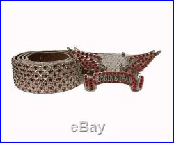 Robin's Jean White Leather Belt Eagle Buckle WithRed Swarovski Crystals Sz38
