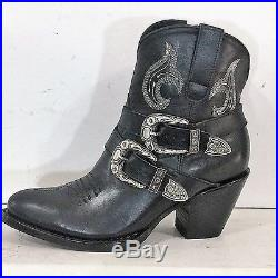 Round toe ankle cowboy boots with belt and buckles and zipper made to order men