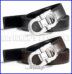 SALVATORE FERRAGAMO black to brown 44 Reversible GANCINI buckle Belt NWT Authent
