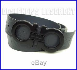 SALVATORE FERRAGAMO gray 40 stamped GANCINI leather Black buckle Belt NWT Authen