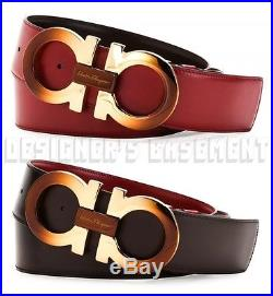 SALVATORE FERRAGAMO red to brown 40 Reversible GANCINI gold buckle Belt NWT Auth