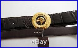 STEFANO RICCI Brown Crocodile Leather with Eagle Gold Buckle Belt 34 US 85 CM