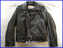 Schott 613S Slim Perfecto Leather Jacket Motorcycle Black Size 40 One Star NYC
