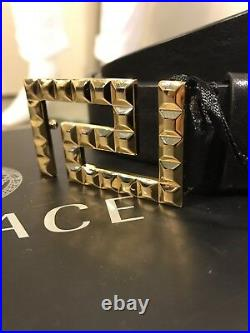 Sold Out! Authentic Versace Greca Key Leather Belt Black/Gold Size 95/38