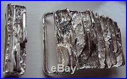 Solid Sterling Silver Belt Buckle The Royale with Solid Silver Belt Keeper