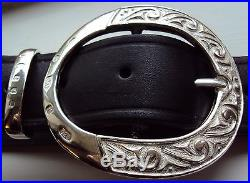 Solid Sterling Silver The Ritz Belt Buckle with Solid Silver Belt Keeper
