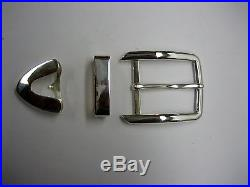 Sterling silver 925 solid buckle loop and tip 52 grams for 1.5 belt made in USA